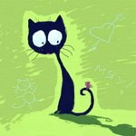 Кошка нарисованная