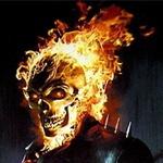 На картинке в огне полыхает череп, огненный аватар с черепом