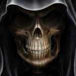 Череп в чёрном капюшоне, аватар с черепом