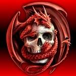 Череп с красным драконом, картинка с черепом и драконом