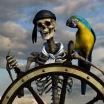 Картинка со скелетом пиратом за штурвалом с попугаем на плече
