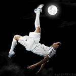 Аватар на тему футбола, только вместо мяча - Луна, картинка на тему спорта