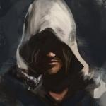 Мужчина в белом капюшоне, под которым не видно глаз