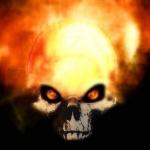 Раскалённый череп со светящимися оранжевыми глазами