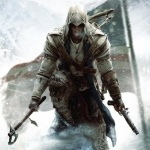 Герой игры Assassin's Creed 3 сидит на камне на фоне флага