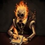 Призрачный гонщик пишет огненным пером на бумаге