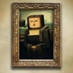 Мона Лиза с квадратной головой в стиле Minecraft