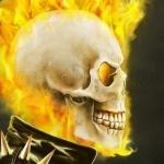 Череп окутанный огнём готовит еду во рту
