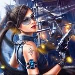 Девушка в очках с пистолетом на фоне боевого вертолёта