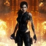 Лара Крофт на фоне огня из игры Tomb Rider: Underworld