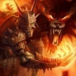 Орк Lugbol из призванным пепельным волком из игры Guardians of middle-earth