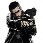 Мужчина в чёрном плаще с пистолетом в руках