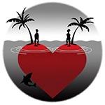 Человечки на разных половинках сердца
