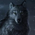 Волк с амулетом на шее сидит на фоне луны