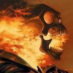 Горящий изнутри череп с открытым ртом