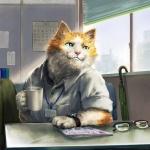 Кот в рубашке сидит за столом с кружкой в лапе