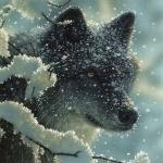 Покрытая снегом морда волка выглядывающего из-за веток