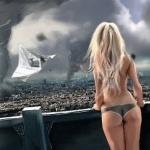 Девушка наблюдает с балкона, как смерчи разрушают город