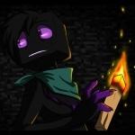 Напуганный эндермен с факелом руке из Minecraft