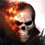 Призрачный гонщик с горящей половиной черепа