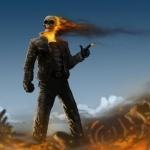 Призрачный гонщик сжигает врагов с помощью огня из пальца