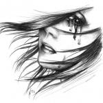 Рисунок плачущей девушки карандашом