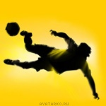 Картинка с футболистом бьющим по мячу в прыжке, аватар для ценителей футбола