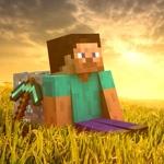 Картинка с отдыхающим игроком в Minecraft. В игре можно просто сидеть и любоваться природой Майнкрафта.