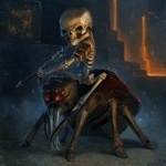 Арт картинка со скелетом верхом на пауке из игры Minecraft.