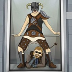 Прикольная картинка с довакином в лифте в стиле клипа Gangnam Style
