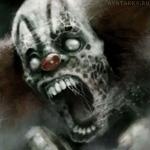 Зомби клоун с широко открытым ртом