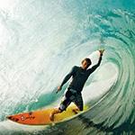 Аватар с сёрфингистом на доске внутри волны, скачать картинку на тему сёрфинга