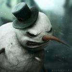 Злой снеговик в шляпе хорошая картинка на аватар зимой