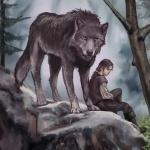 Парень с огромным волком на камне посреди леса