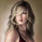 Рисунок красивой девушки с большой грудью и чёлкой на лбу