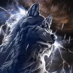 Мокрый серый волк на фоне молний и туч