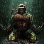 Рафаэль стоит на коленях под дождём
