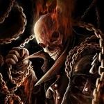 Окружённый церями призрачный гонщик с горящим черепом