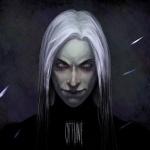 Портрет мрачного человека с седыми волосами