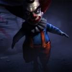 Мелкий клоун в темноте со страшным взглядом