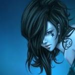 Рисунок девушки с чёрными волосами и звёздочкой на щеке