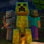 Крипер с зомби и скелетом по бокам из игры Minecraft