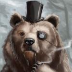 Медведь с повязкой на глазу курит трубку