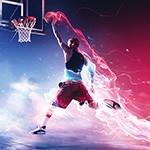 Баскетболист со спецэффектами бросает мяч в корзину