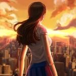 Спина девушки, которая смотрит на город, сжимая нож в руке