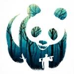 Силуэт лесоруба в на фоне леса, являющегося текстурой панды