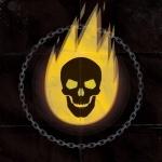 Горящий череп призрачного гонщика в кольце из цепи