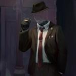 Человек-невидимка в шляпе и галстуке курит сигарету