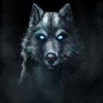 Волк со светящимися голубым светом глазами в темноте
