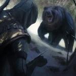 Ассасин угрожает медведю своим маленьким ножиком в рукаве